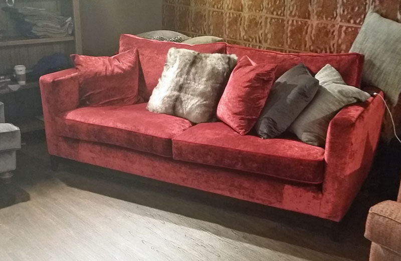 Red Taunton Sofa With Scatter Cushions John Dick Son