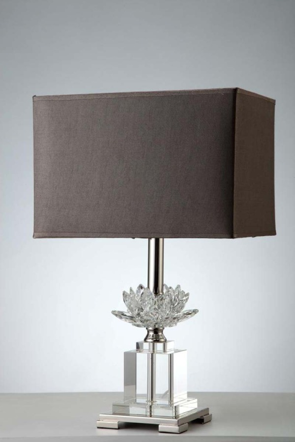 Crystal Flower & Chrome Lamp