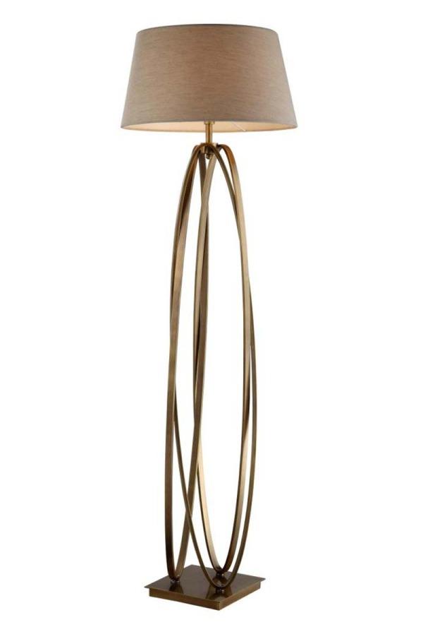 Antique Brass Hooped Floor Lamp