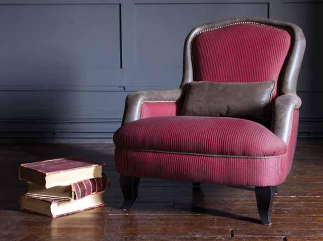 Alphonse Chair in Cavalry Stripe Scarlet by John Sankey