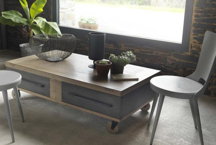 Industrial Style Oak Coffee Table on Wheels