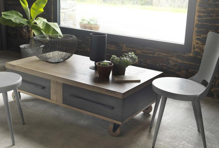 Industrial Style Oak Coffee Table On Wheels Part 83