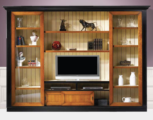 Cherry wall unit in black painted finish
