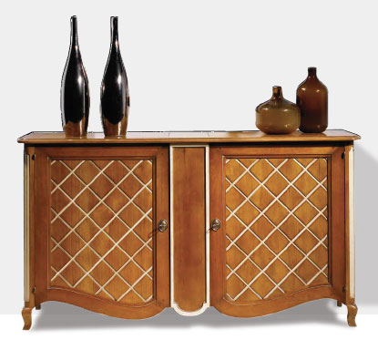 Lattice painted French cherry sideboard