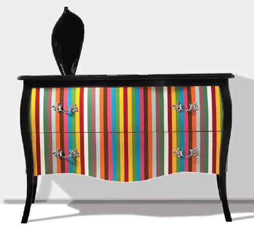 Multi-Coloured Two Drawer Hall Chest