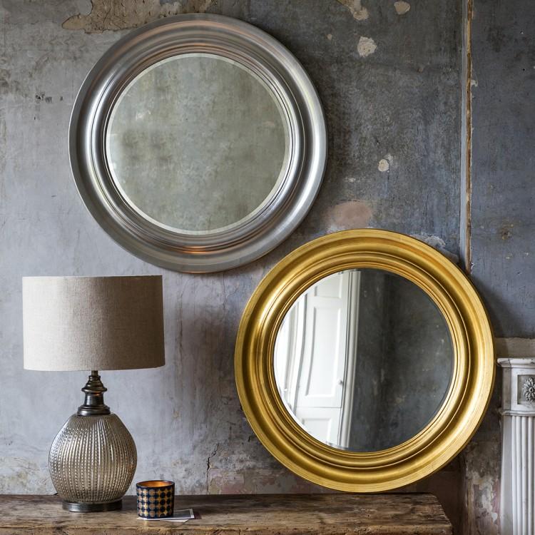 Round Silver & Gold Mirror
