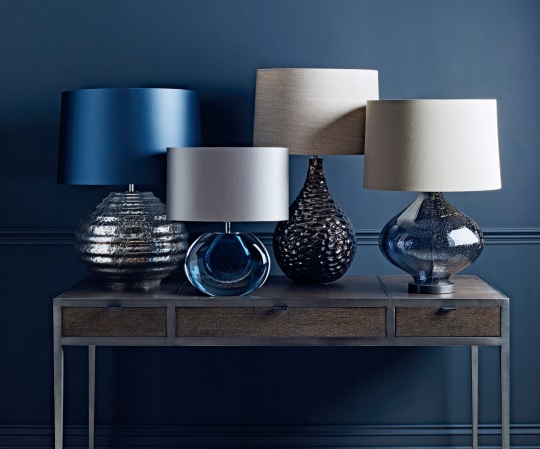 blue lamps and side table